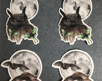 Owl and Bat stickers full moon Luna Luna moth