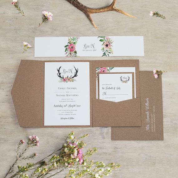 Eco Kraft Pocketfold Blumen Geweih Ich Hochzeitseinladung Etsy