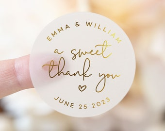 A Sweet Thank You Stickers With Gold, Silver or Rose Gold Foil, Frosted Round Personalized Stickers, Wedding Stickers & Business Labels