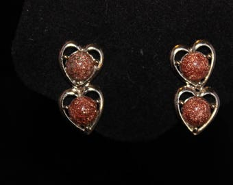 Cute double heart pyrite and goldstone clip earrings