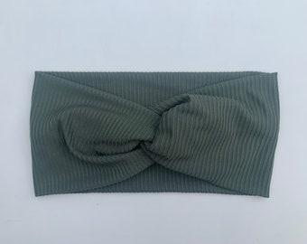 Sage Ribbed Turban