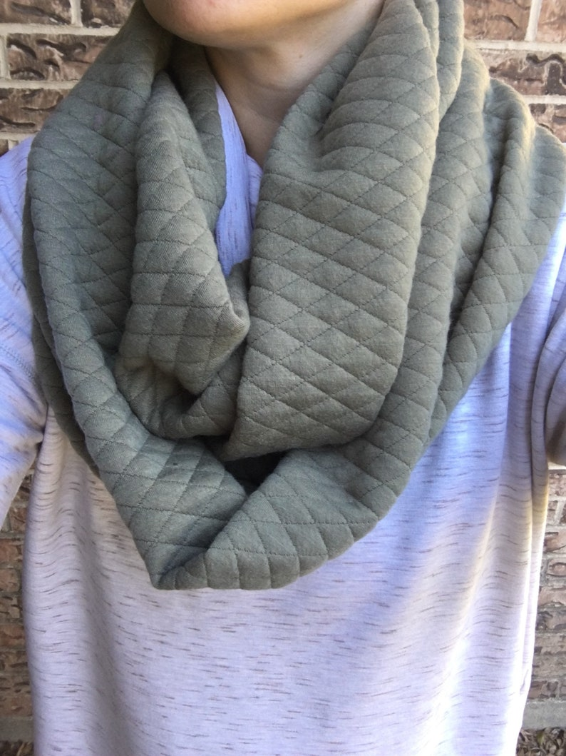 Army Green Quilted Adult Infinity Scarf image 0