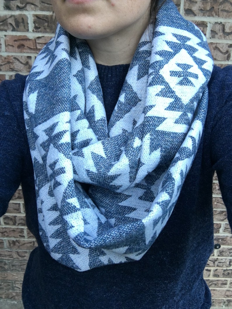White on Blue Aztec Adult Infinity Scarf image 0