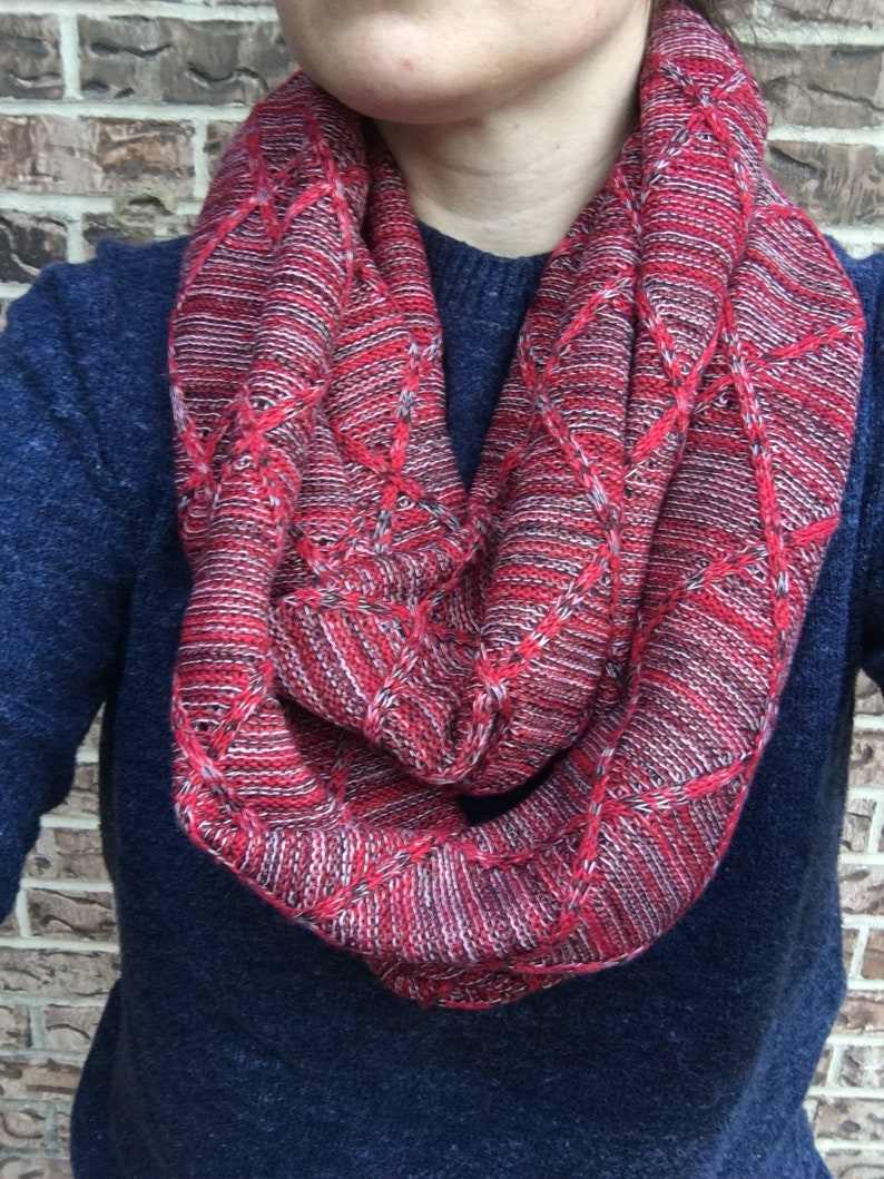 Red Diamond Jacquard Knit Adult Infinity Scarf image 0