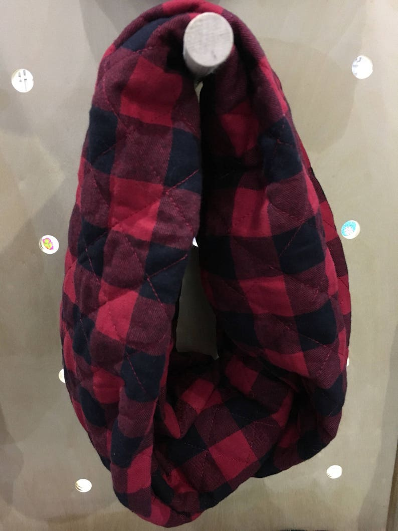Black and Red Buffalo Plaid Adult Infinity Scarf image 0