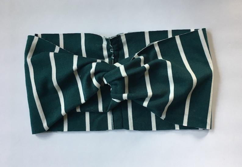 Hunter Green and White Striped Turban image 0