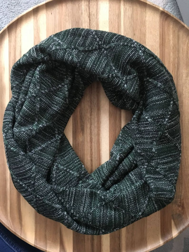 Hunter Green Quilted Knit Adult Infinity Scarf image 0