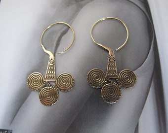 Brass Earrings, Brass Tribal Earrings, Tribal Earrings , Earrings, belly dance Earrings, Ethnic Earrings, Hoop Earrings