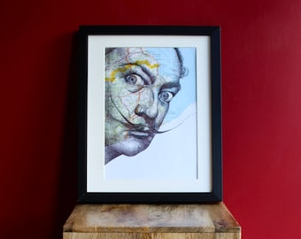 Salvador Dali print. Portrait in pen over map of Spain. A4 Unframed