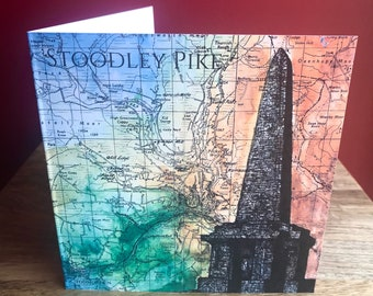 Stoodley Pike, hand drawn greeting card. Pennines/West Yorkshire. Blank inside.