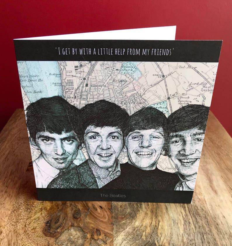 Carte Liverpool Vierge à l/'intérieur John Lennon croquis de Voeux Carte d/'anniversaire