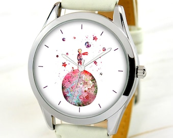 Moon Boy Watch - Watercolor Art Watch - Unique Gift Idea - Women Watches - Mother's Day Gift - Birthday Gift For Sister - FREE SHIPPING!