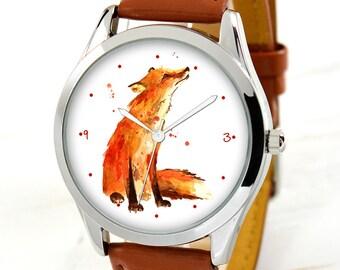 Red Fox Watch - Women Watches - Teen Girl Gifts - Birthday Gift for Her - Best Friend Gift - Anniversary Gifts for Women - Art Teacher Gift