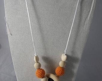 CollierPA020 - Collier de portage / allaitement orange et marron