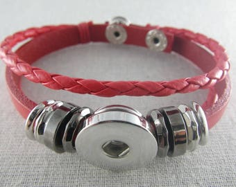 Bracelet multirangs simili cuir rouge