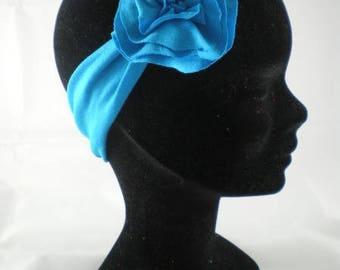 Ban016 - Headband bandeau en jersey bleu turquoise