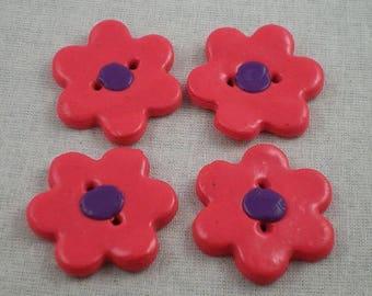 Boutons006 - Bouton fleur rose et mauve en pâte polymère