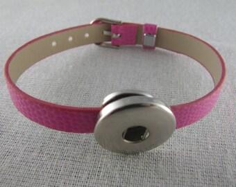 Bracelet en simili cuir de couleur rose support bouton pression