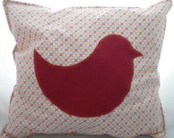 Coussin008 - Coussin oiseau rouge et orange