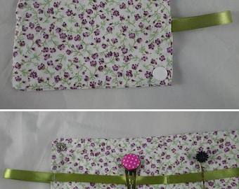 Pochette014 - Pochette à barrettes en liberty violet et vert