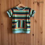 Multi Stripes Shirt. Boys Tee Shirt. Organic Boy Shirt. Jersey Knit Tee Shirt. Canguru Pocket. Boy Tee. Cuffed Sleeve. Short Sleeve. Stripes
