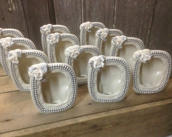 157 - Picture Frames -Ornate - Chic - Wedding- Glass - Table Top Ready -Set of 12 - White - Silver