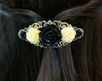 Flower Barrette Vintage Style Rose Hair Accessory Black Ivory Flower Hair Clip Filigree Barrette Hair Accessories Teen Barrette Hair Jewelry