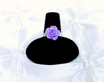 Purple Rose Adjustable Ring Flower Jewelry Silver Plated Band Vintage Style Jewelry Flower Accessories Gifts for Her Teen Jewelry Ring