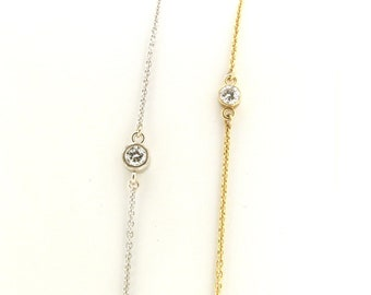 Bezel Anklet Dangle CZ Charm Marquise CZ Ankle Bracelet Sterling Silver