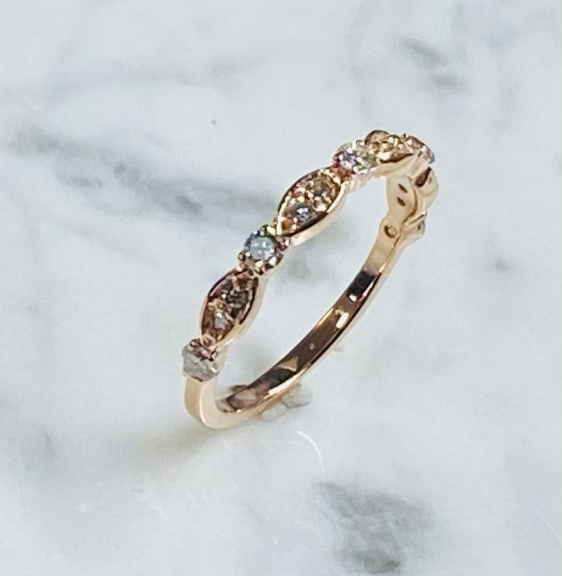 Solid 14kt Gold Handmade .37ctw Round Half Eternity Band  Gold Band Stacking Diamond Band Anniversary Band for Women