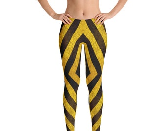 199ed7e118067 Golden Striped Leggings Shiny Black And Gold Stripe Leggings Golden Vintage  Look Leggings ,High Waist Yoga Shorts Workout Leggings