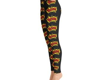 f1c874adc5938 Black Boom Yoga Leggings, Capri Yoga Pants, Sport Stretch Leggings, Fitness Workout  Yoga Pants Joggers Active,Solid Colors Leggings