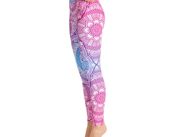 8c0bfed40541d7 Pink Blue Mandala Yoga Leggings,Capri Yoga Pants, Sport Stretch Leggings,  Fitness Workout Yoga Pants Joggers Active, Mommy Me Leggings