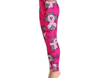 30ddfcbe41 Breast Cancer Awareness Yoga Leggings,Capri Yoga Pants, Sport Stretch  Leggings, Fitness Workout Yoga Pants Joggers Active, Yoga Leggings