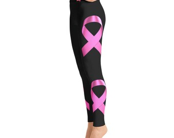 1350644128d8 Breast Cancer Pink Ribbon Yoga Leggings,Capri Yoga Pants, Sport Stretch  Leggings, Fitness Workout Yoga Pants Joggers Active, High Waist