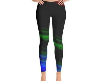 a0c356ebb Multicolor Lines Pattern Womens Leggings Gradient Ombre Print Striped  Leggings