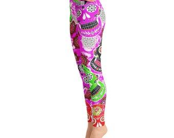 3fad6bf2c9ca2a Hot Pink Skull High Waist Yoga Leggings,High waist Capri Yoga Pants, Sport  Stretch Leggings, Fitness Workout Pants Joggers, Yoga Shorts