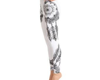 c8cb95464fd92 White Dreamcatcher Yoga Leggings,Capri Yoga Pants, Sport Stretch Leggings, Fitness  Workout Yoga Pants Joggers Active, Mommy Me Leggings
