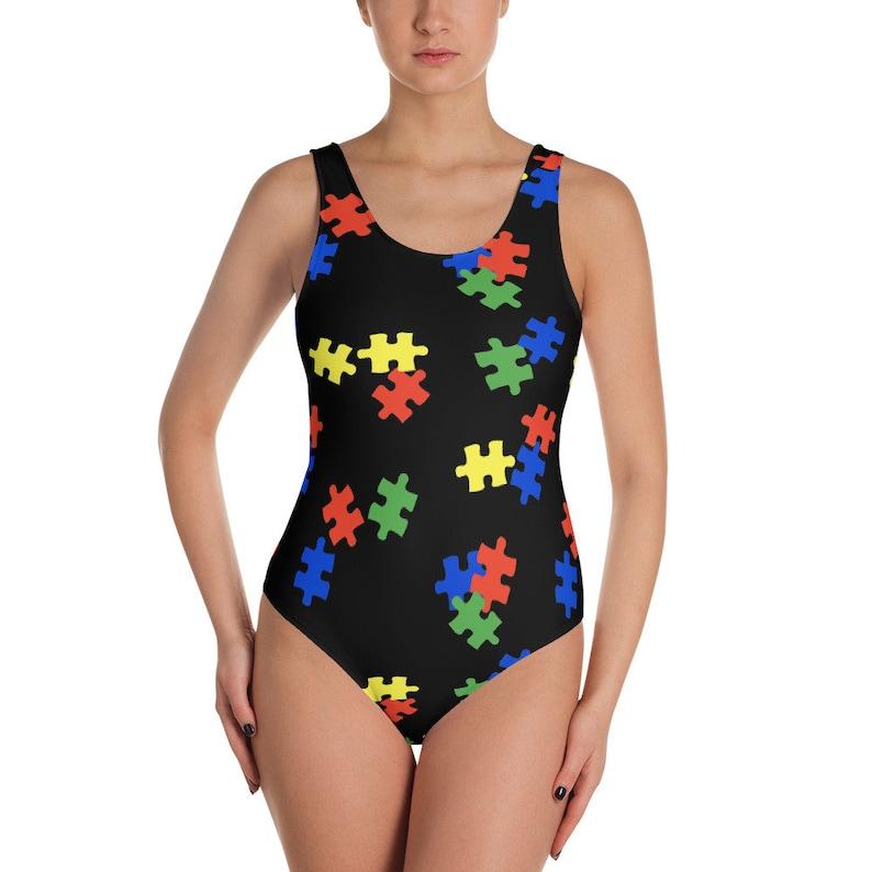 Whole piece Swimwear Autism Puzzle One-Piece Swimsuit One Piece Bathing Suit Autism Awareness Bathing Suit
