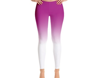 Gradient Womens Leggings  Pink White Color Print Bottom Gradient Ombre Leggings ,High Waist Yoga Shorts Workout Leggings