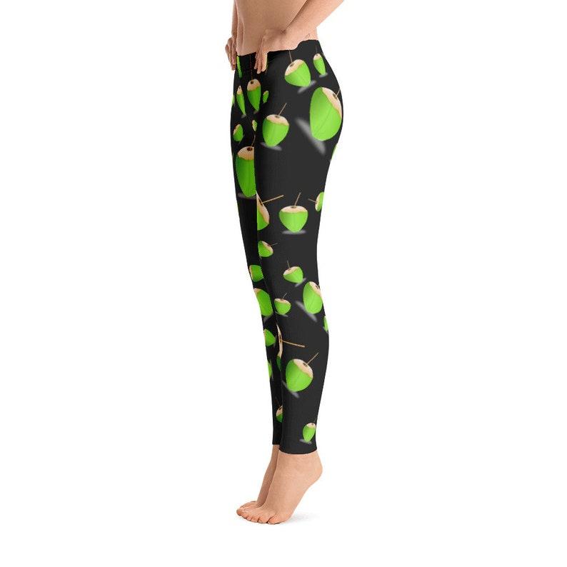 High Waist Yoga Shorts Workout Leggings, Black Acorn Leggings Black Green Coconut Designer Legging