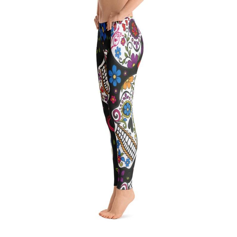 620ca012af336 Black Skulls Floral Design Leggings Capri Yoga Pants Sport | Etsy