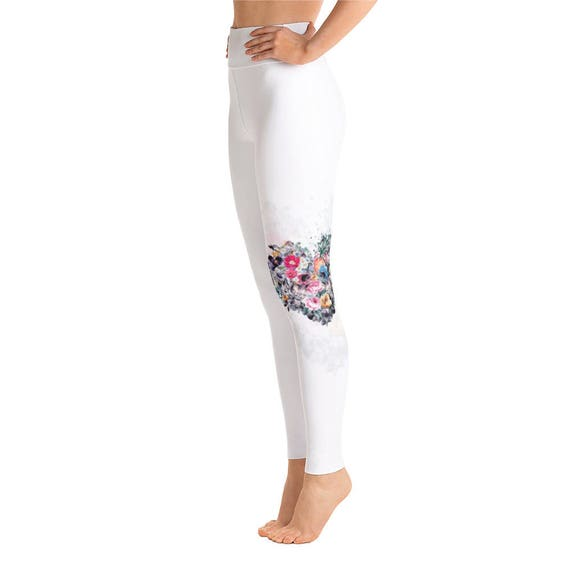 White Heart Yoga LeggingsCapri Yoga Pants Sport Stretch  f61a811d60e6d