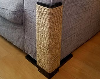 Couch Corner Cat Scratching Post, Stained Pine, Sisal Rope