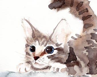 Pouncing Kitten watercolor print, Cat art 8x10 or 4x6