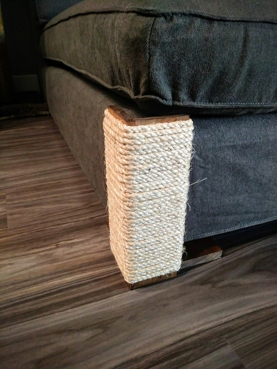 Superb Couch Corner Cat Scratching Post 12 Inches Tall Stained Pine Sisal Rope Ibusinesslaw Wood Chair Design Ideas Ibusinesslaworg