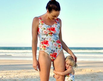 Mummy and Me Floral Swimsuits, Mommy and Me swimsuits, Mummy and Daughter, swimsuit, matching swimmers, baby and mummy swimwear