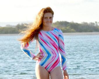 Colour Splash Swimsuit Girls size 8-12, tween swimwear, girls swimsuit, girls swimmers