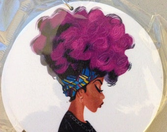 Purple Afro Hair Earrings