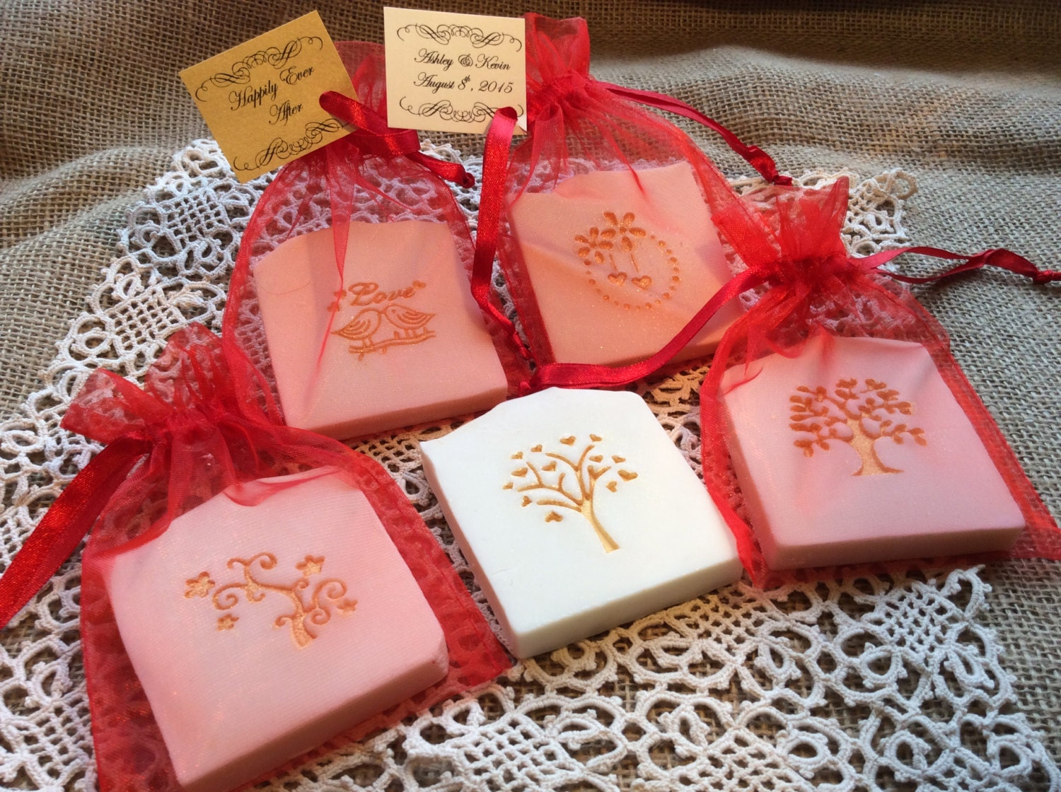 Red and Gold Accented Wedding Favor Soap Bridal Shower | Etsy